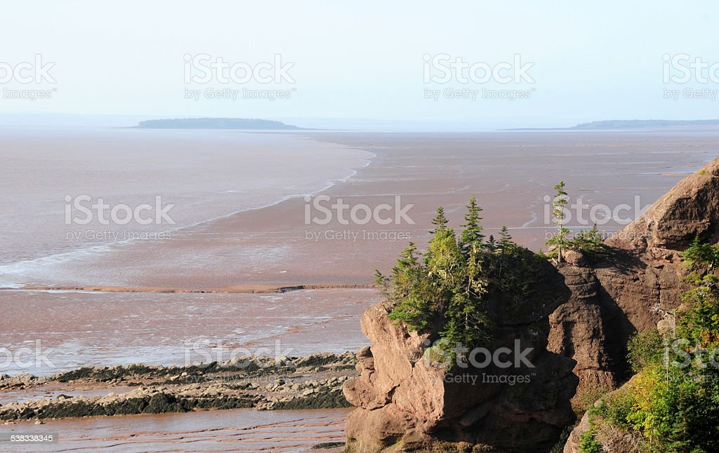Hopewell Rock in the Bay of Fundy at low tide stock photo