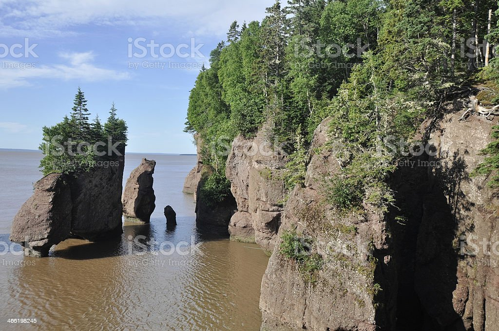Hopewell Rocks at high tide, Canada stock photo