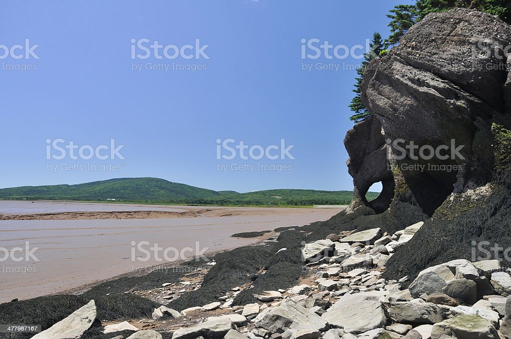 Hopewell Rocks at low tide (Canada) stock photo