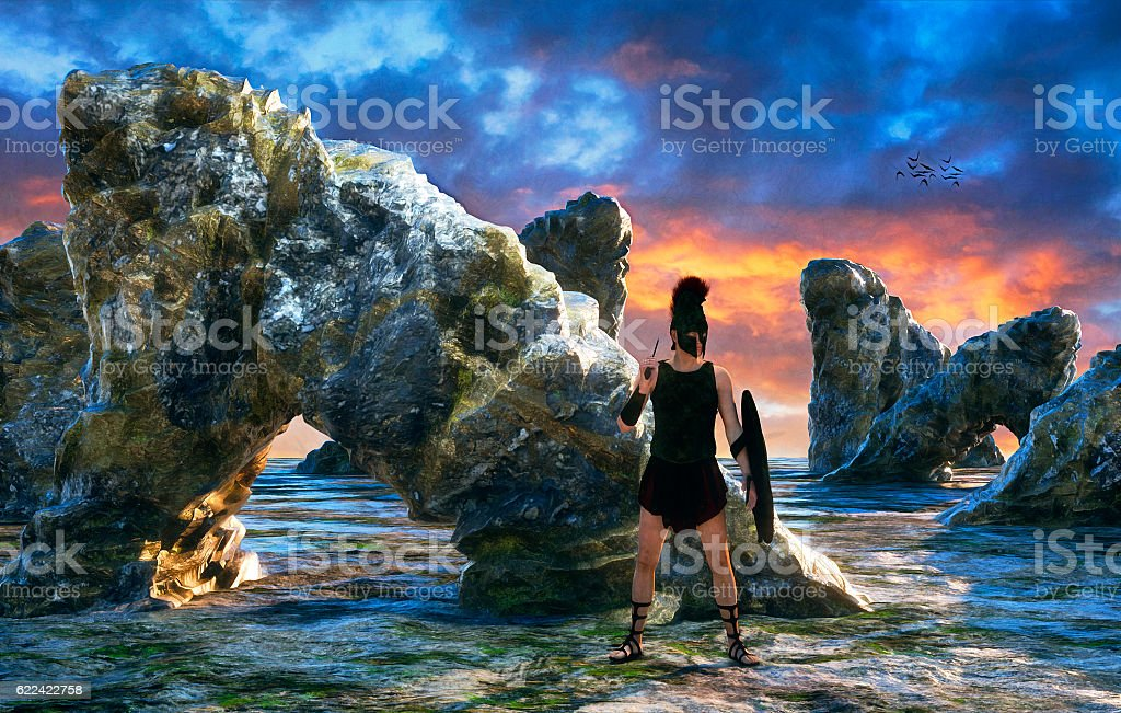 Hoplilte solider of ancient Greece stock photo