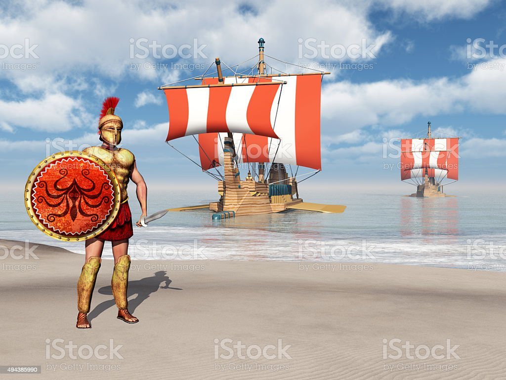 Hoplite and galleys of ancient Greece stock photo