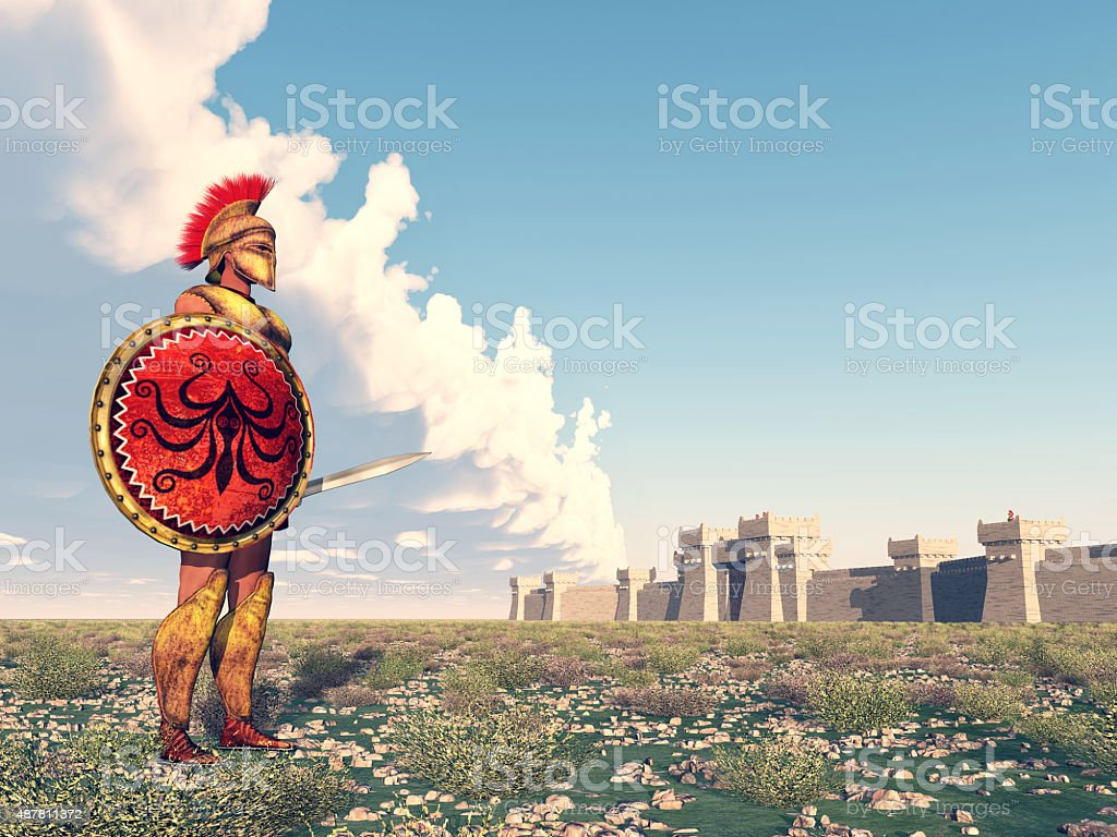 Hoplite of ancient Greece at Troy stock photo