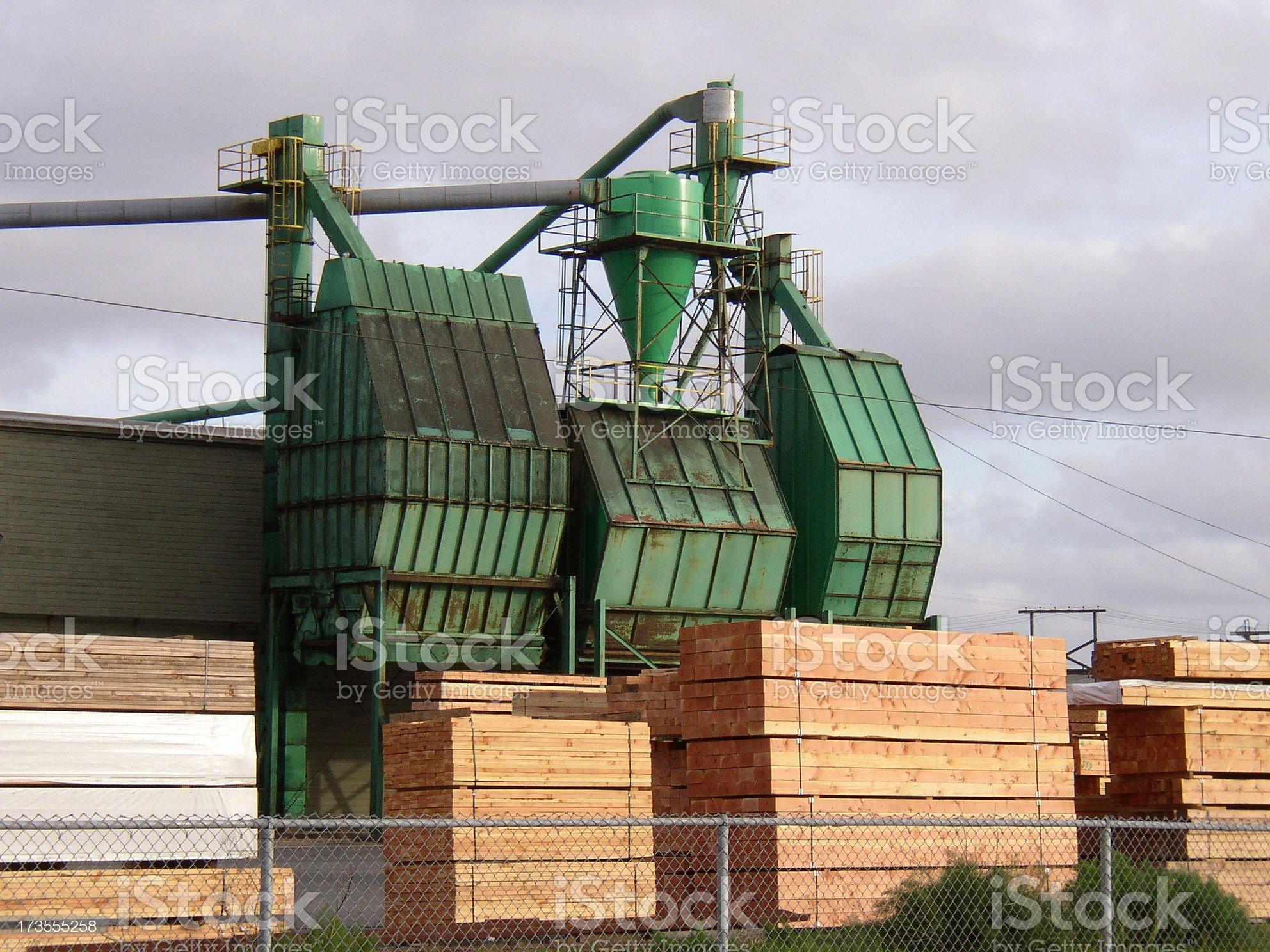 Hoppers at a lumber mill royalty-free stock photo
