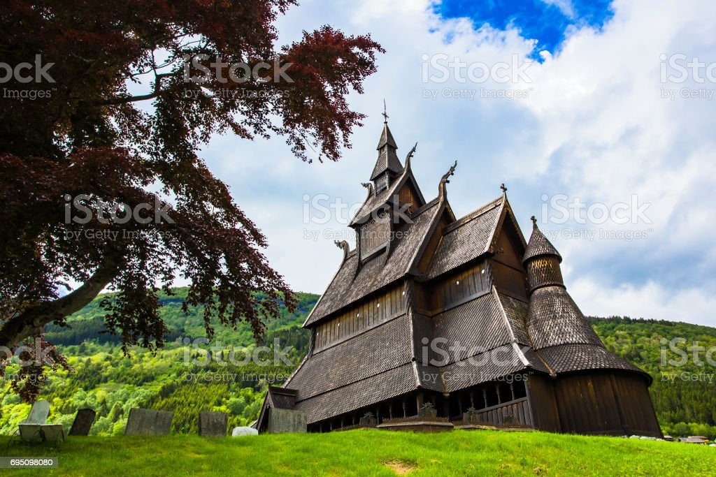 Hopperstad stavkirke, Norway stock photo