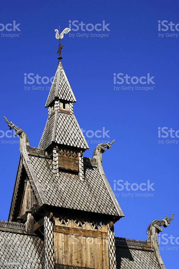 Hoppestad stave church in Norway stock photo