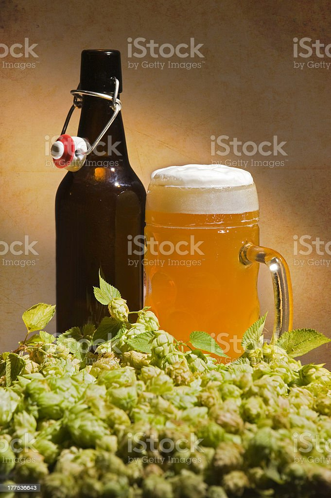 Hops and Beer royalty-free stock photo