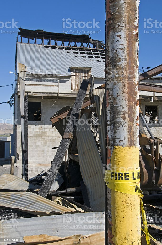 Hops processing plant destroyed by fire stock photo