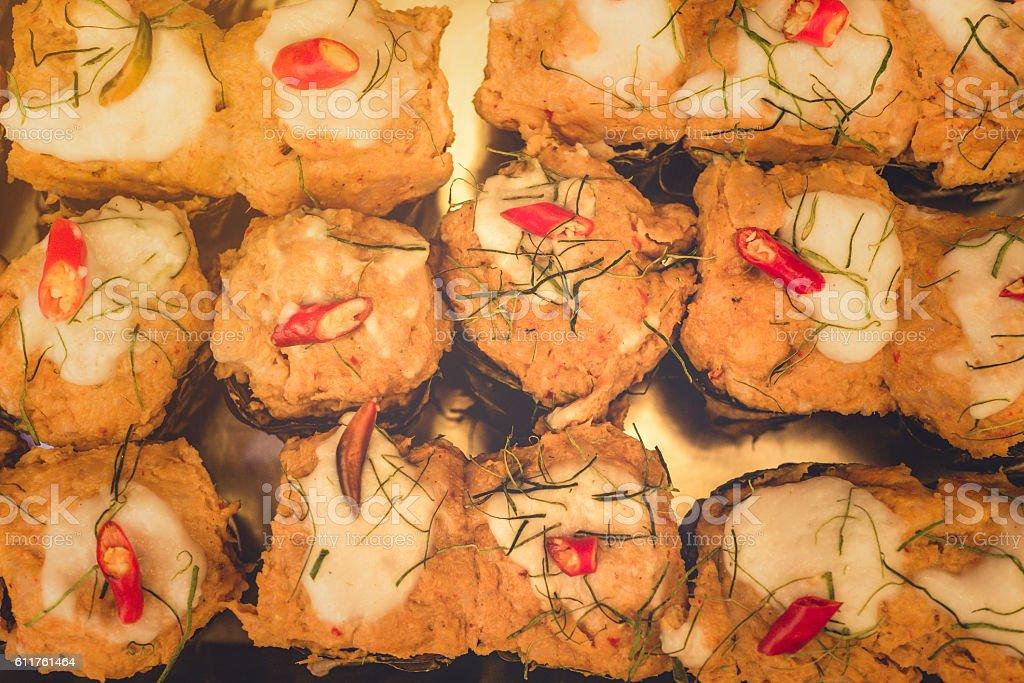 hor mok, steamed fish curry custard in banana leaf. stock photo