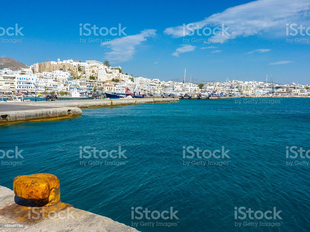Hora view, the capital of Naxos island stock photo
