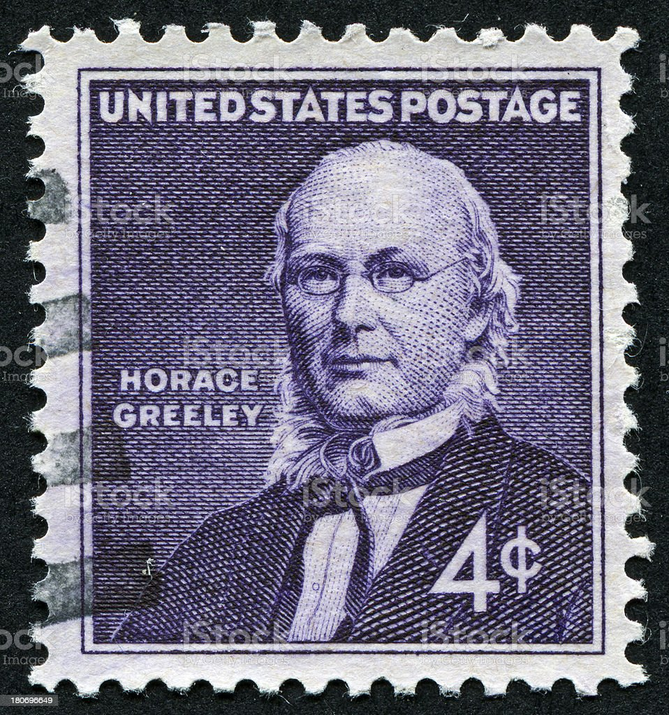Horace Greeley Stamp stock photo