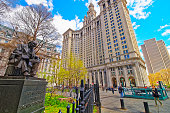 Horace Greeley Statue and Manhattan Municipal Building