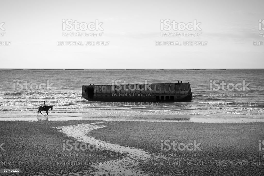 Horesback riding in Arromanches, Normandy, France stock photo