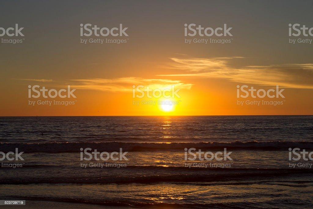 Horizon over Ocean at Sunset stock photo