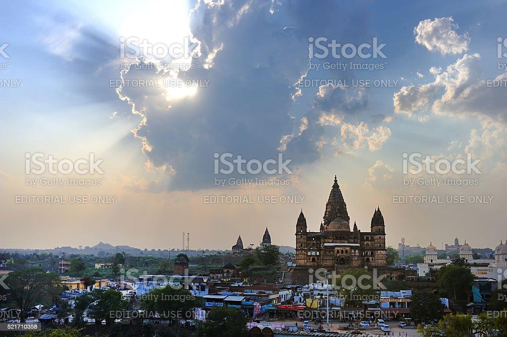 horizon scenery in the city of Orchha stock photo