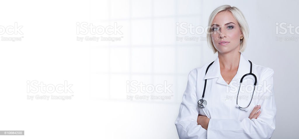 horizontal banner showing doctor with stethoscope stock photo