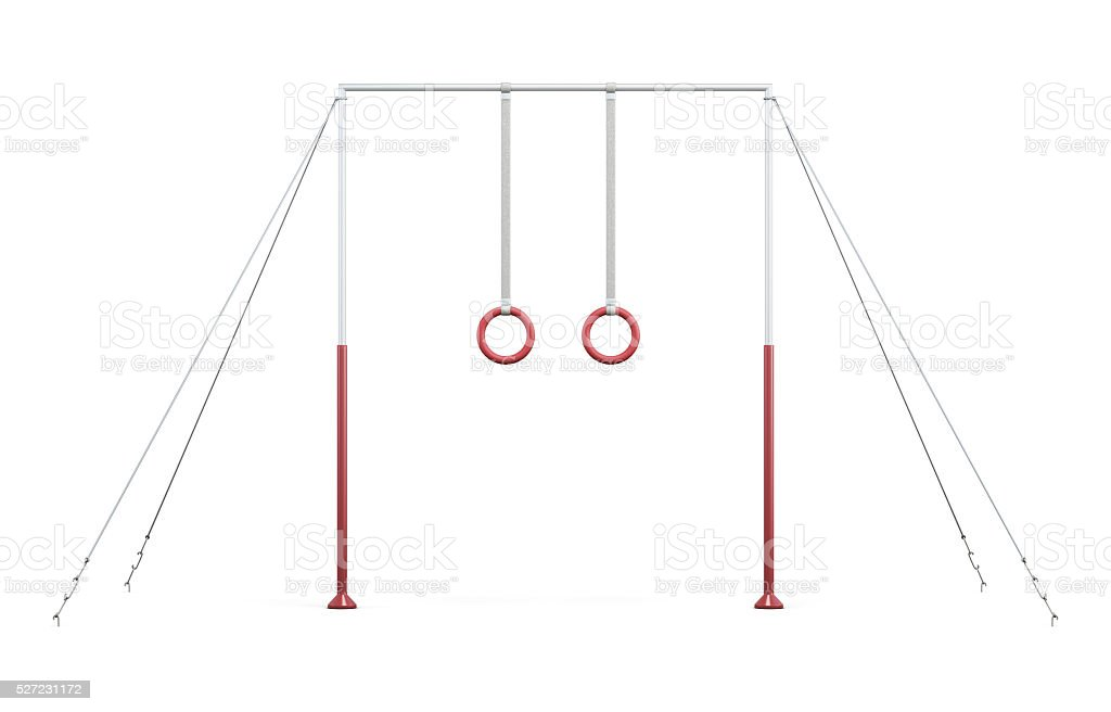 Horizontal bar with rings on ropes on white background. stock photo