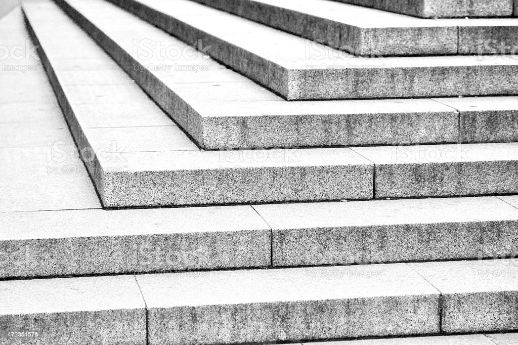Horizontal black and white of marble line steps in London stock photo