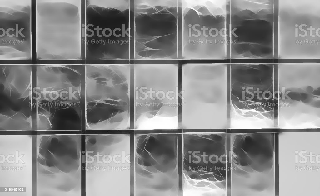 Horizontal black and white windows patchwork illustration backgr vector art illustration