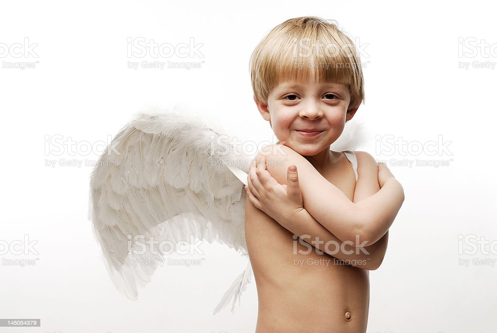 Horizontal close-up of angel with a smiling face royalty-free stock photo