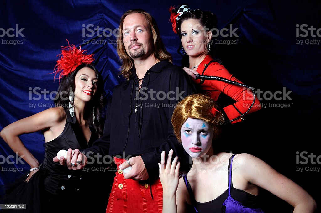 Horizontal Color Group Portrait of Circus Troop Performers in Studio stock photo