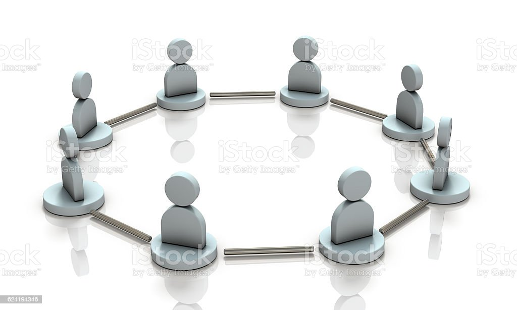 Horizontal connection between friends. stock photo