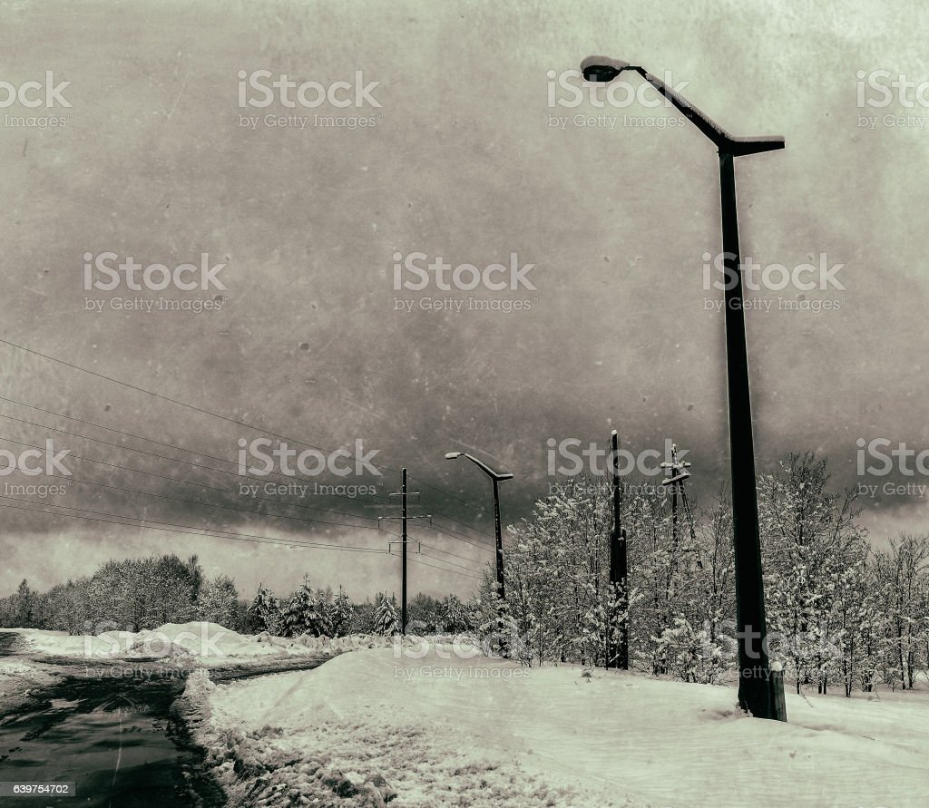 Horizontal dirty vintage USSR industrial power lines background stock photo