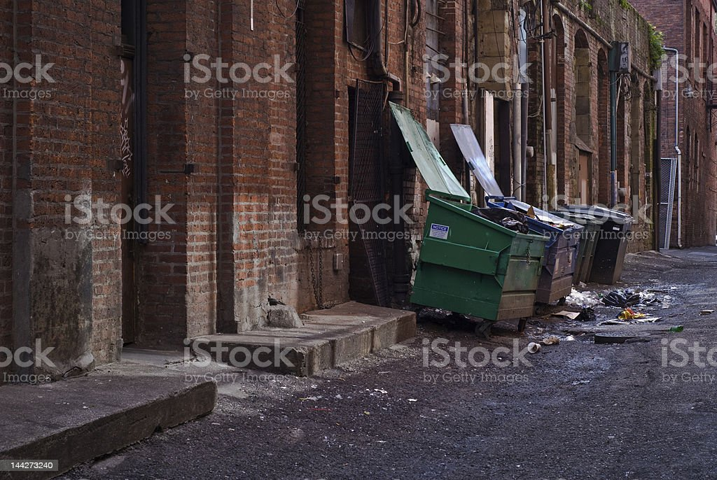 horizontal dumpsters stock photo