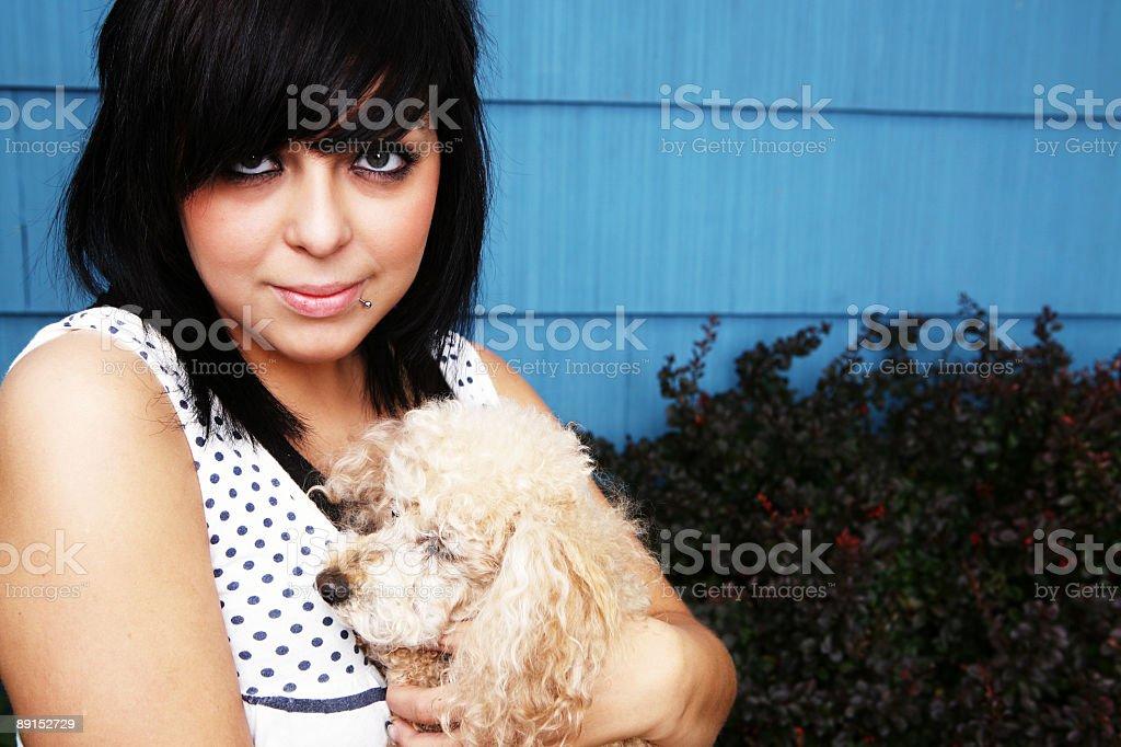 Horizontal Female Holding Dog Portrait royalty-free stock photo