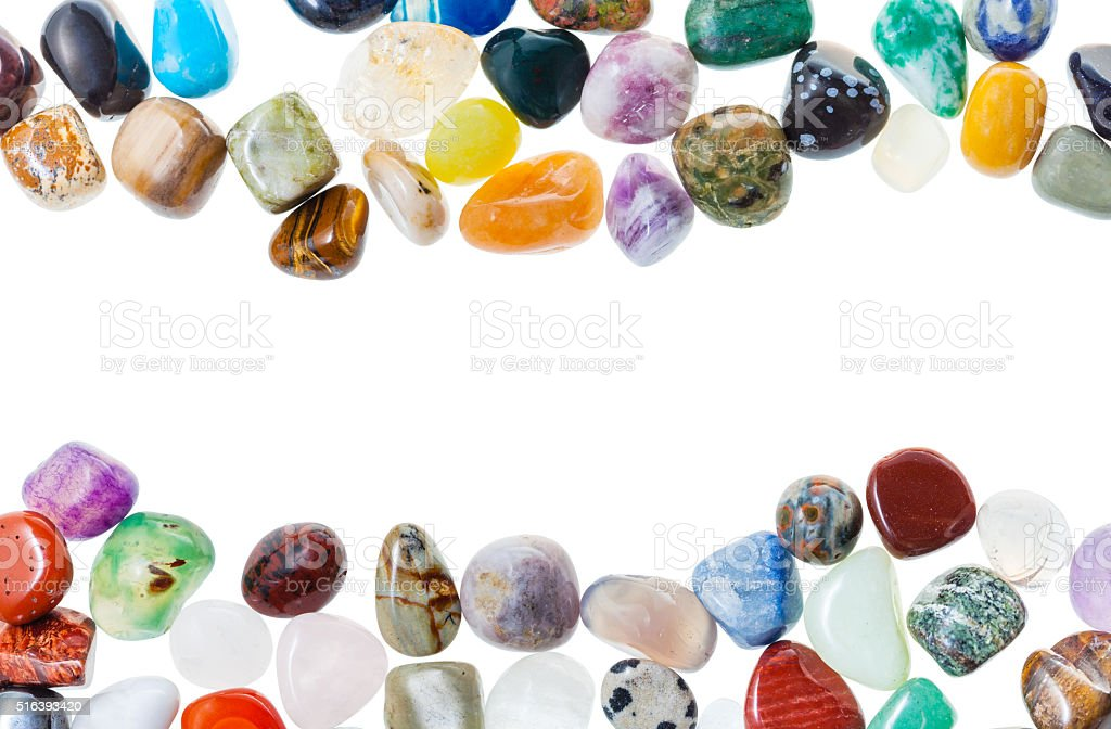 horizontal frame from natural mineral gemstones stock photo
