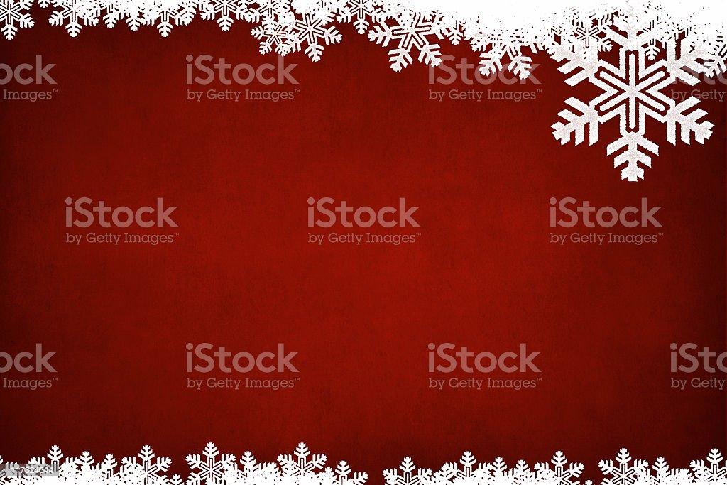 Horizontal Grungey red background with white snowflake border stock photo