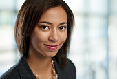 Horizontal headshot of an attractive african american business woman shot