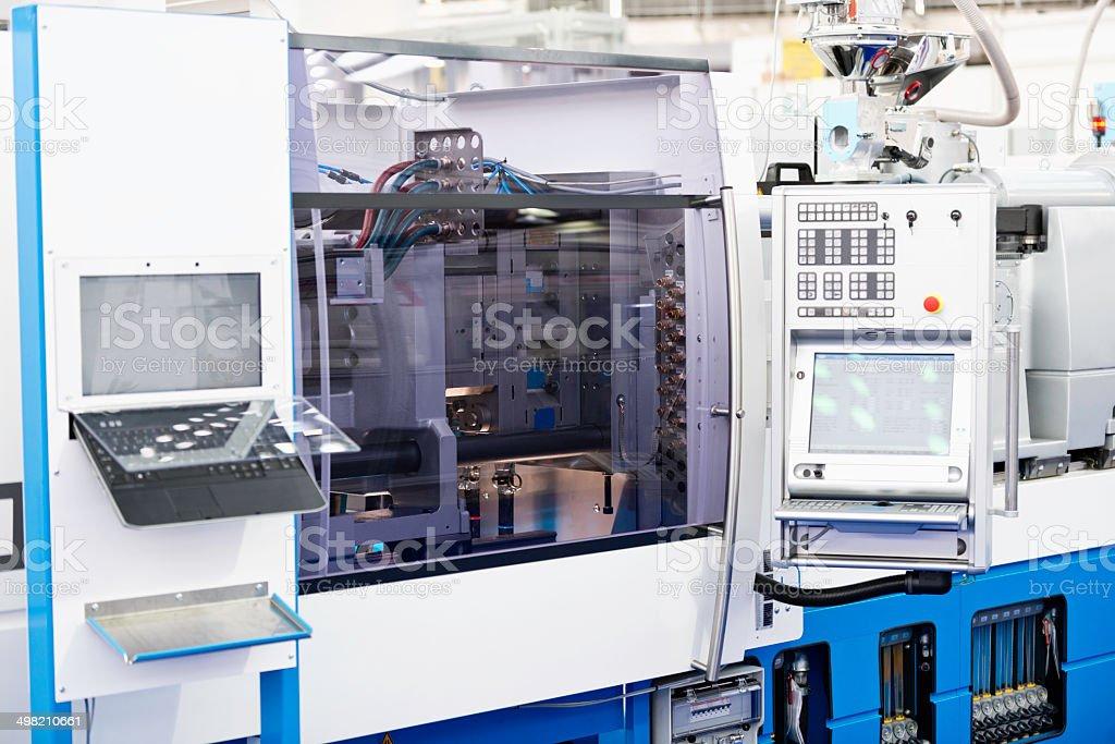 Horizontal hydraulic injection molding machine stock photo
