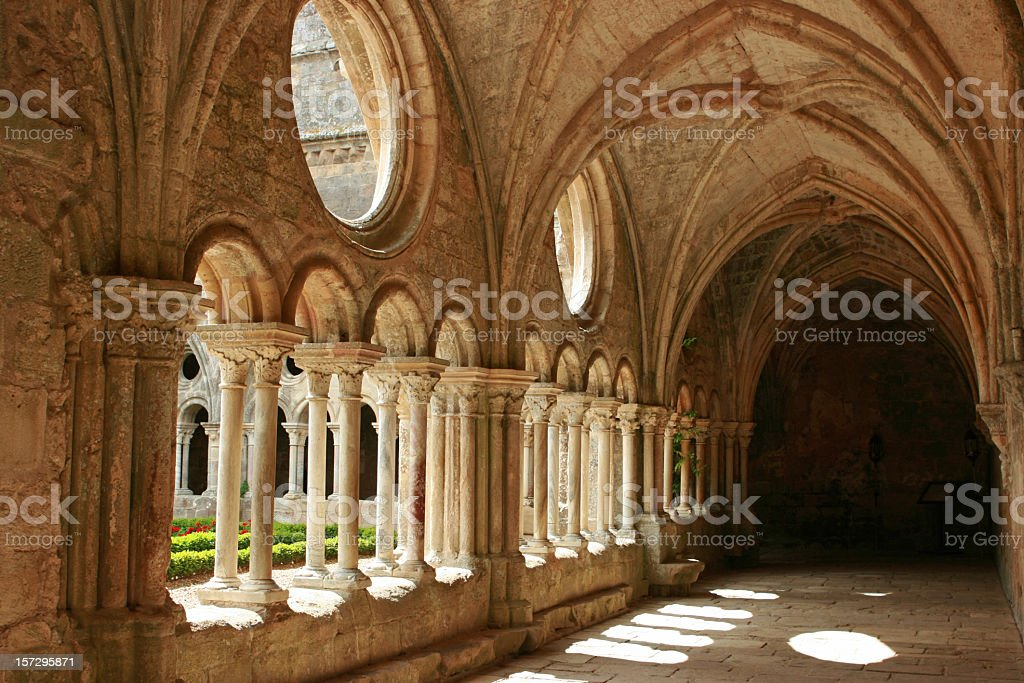 Horizontal image of medieval architecture with no activity stock photo