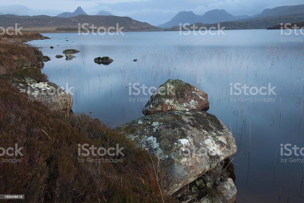 Horizontal landscape. Scottish Loch at sunset royalty-free stock photo