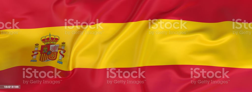 A horizontal layout of the flag of Spain royalty-free stock photo