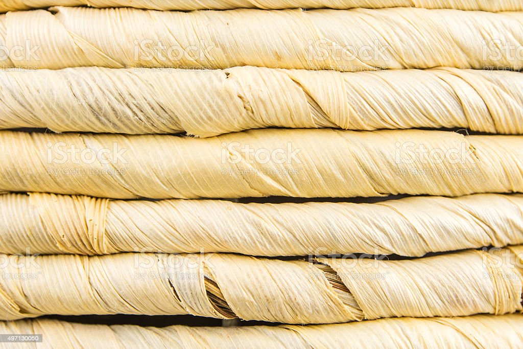 horizontal lines made of straw stock photo
