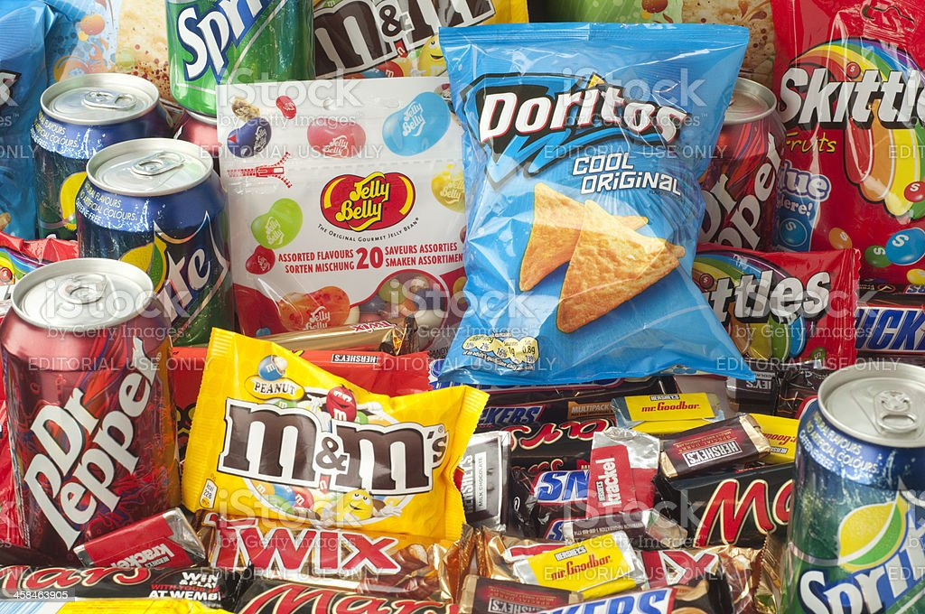 Horizontal messy group of junk food. stock photo