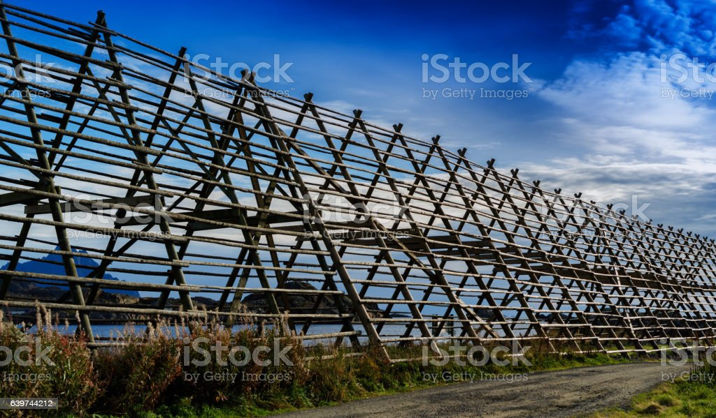 Horizontal Norway empty fish drier perspective background backdr stock photo