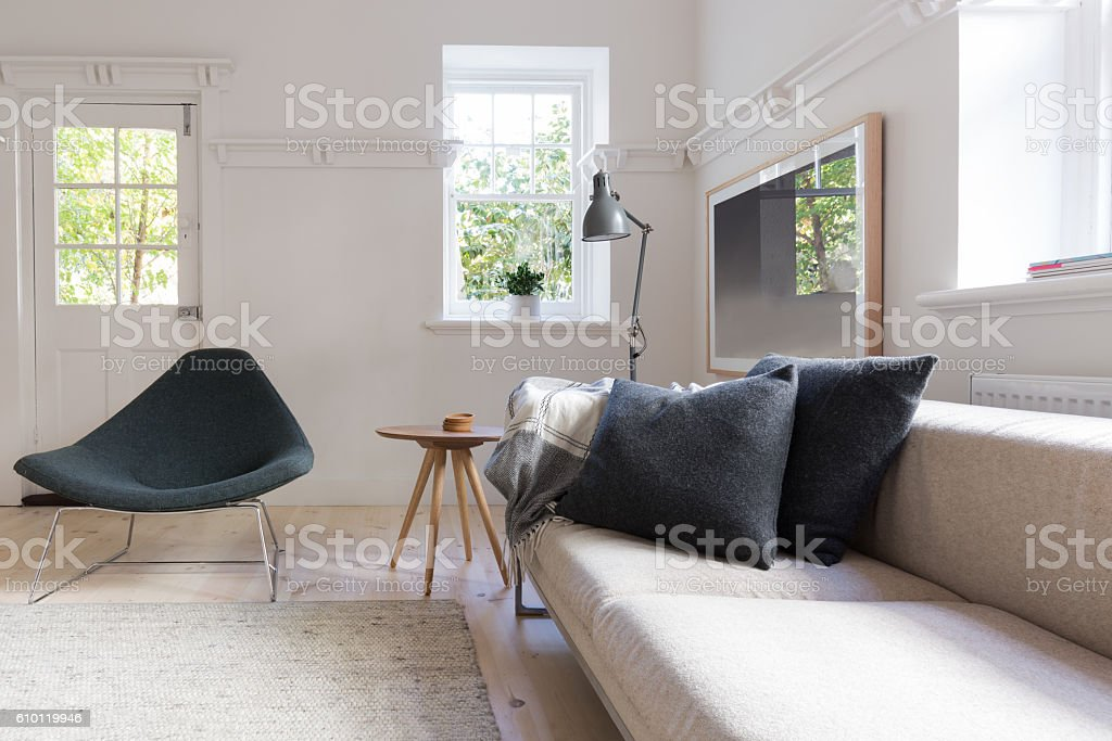 Horizontal of luxury neutral interior living room stock photo
