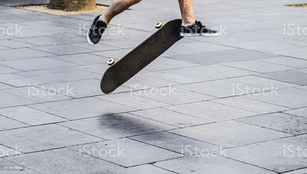 horizontal ollie skate skater barcelona copy space stock photo