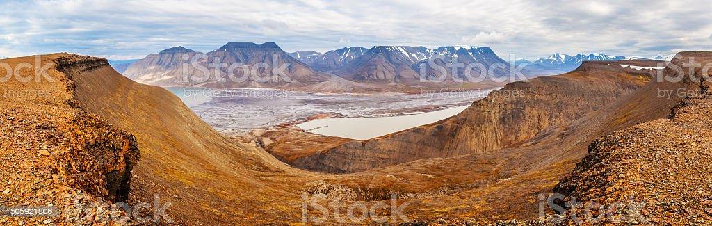 Horizontal panorama view near Longyearbyen, Spitsbergen (Svalbar stock photo