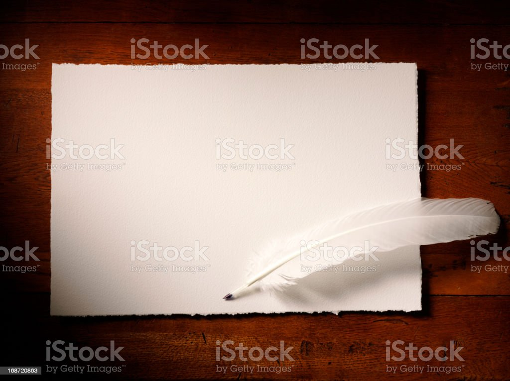 Horizontal Paper and Quill Pen royalty-free stock photo