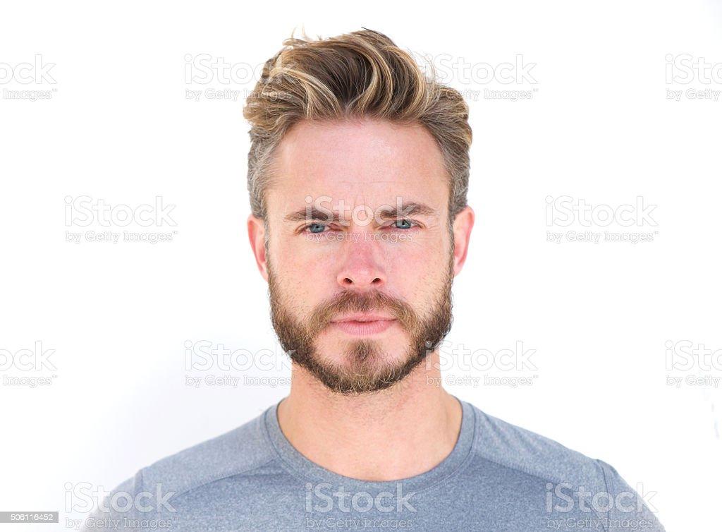 Horizontal portrait of a serious man with beard stock photo