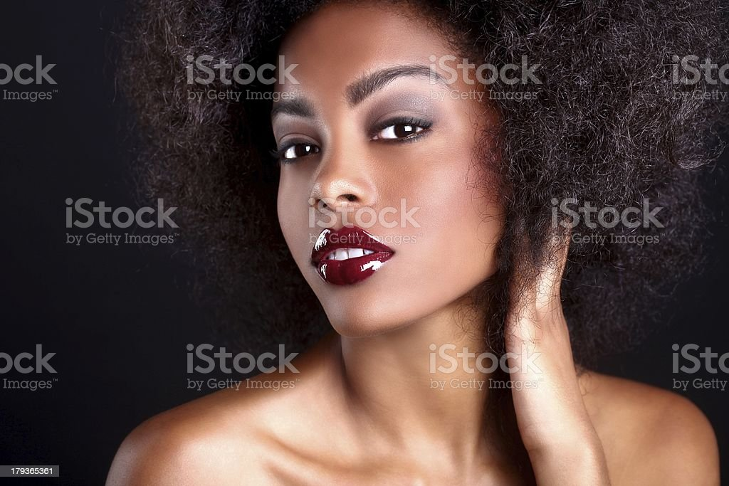 Horizontal Portrait of an African American Black Woman stock photo