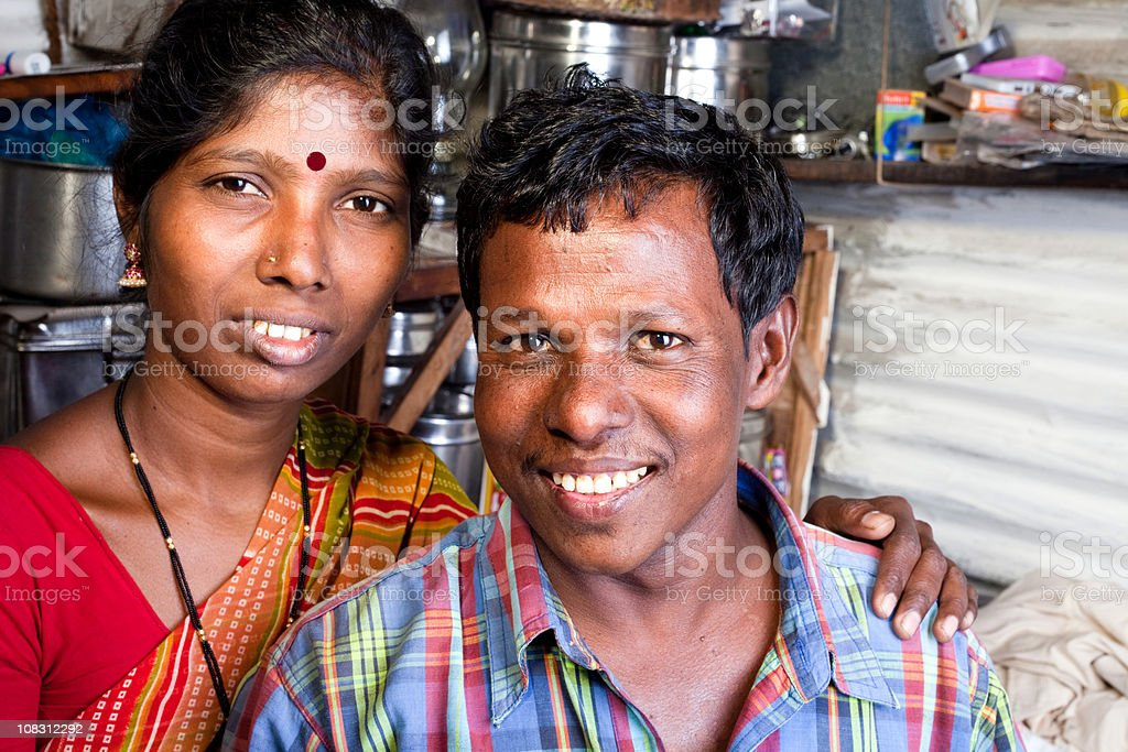 Horizontal Portrait of Cheerful Rural Indian Couple royalty-free stock photo