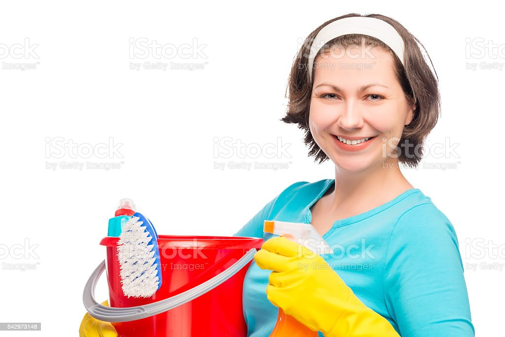 horizontal portrait of the 30 year old housewife stock photo