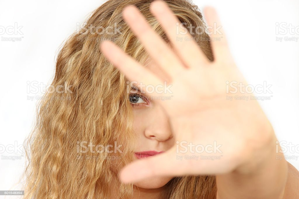 horizontal portrait of the girl on a white background stock photo