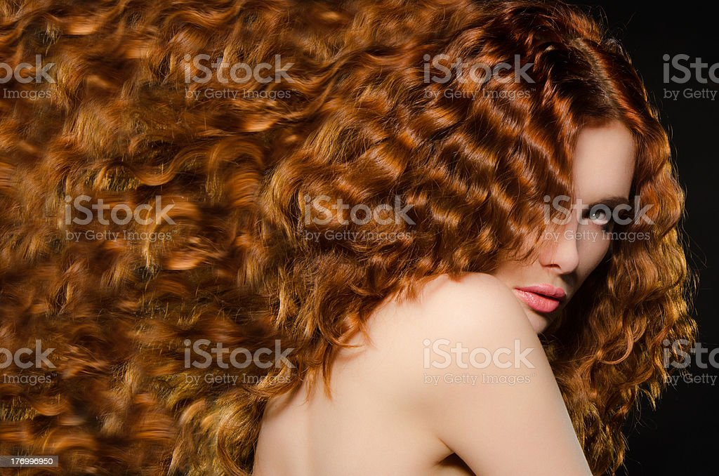 horizontal portrait of woman with red hair stock photo