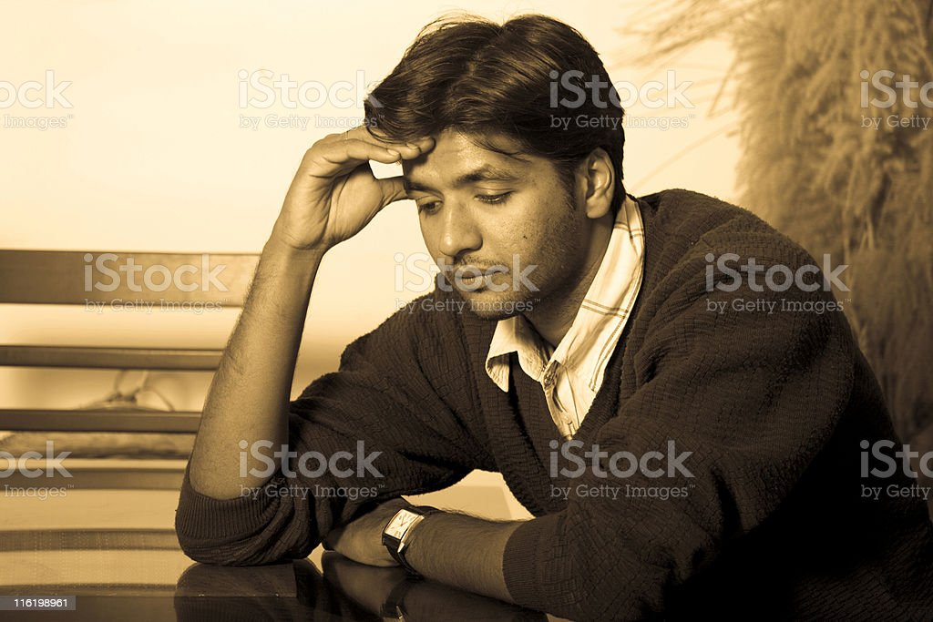 Horizontal Portrait One Pensive Lonely Indian Adult man male People royalty-free stock photo
