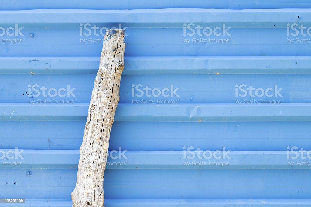 Horizontal ridged blue painted metal wall texture royalty-free stock photo